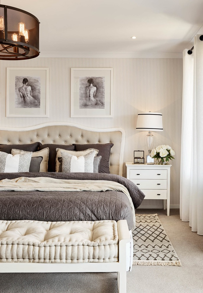 Classic Master Bedroom For Parents With Beige Walls And Carpet (Image 8 of 30)