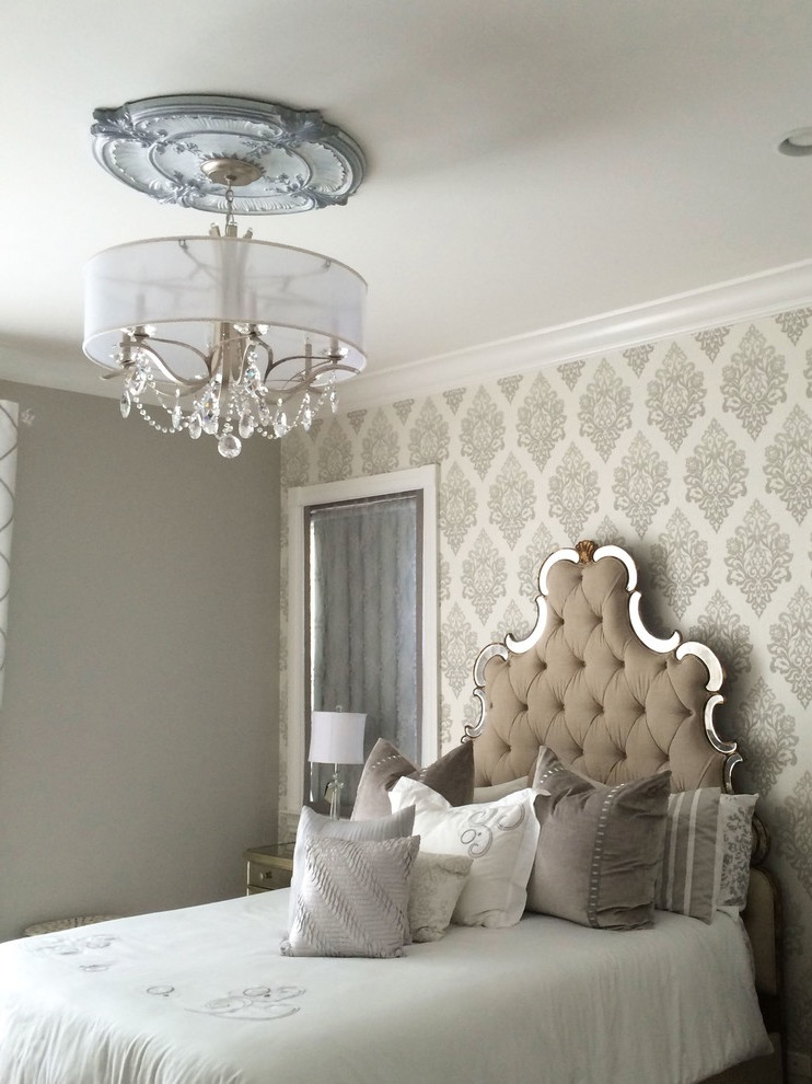 Classic Victorian Bedroom With Beautiful Wallpaper And Headboard (Image 2 of 28)