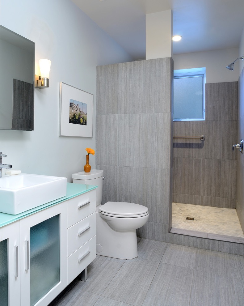 Contemporary Trendy Doorless Walk In Shower (Image 8 of 29)