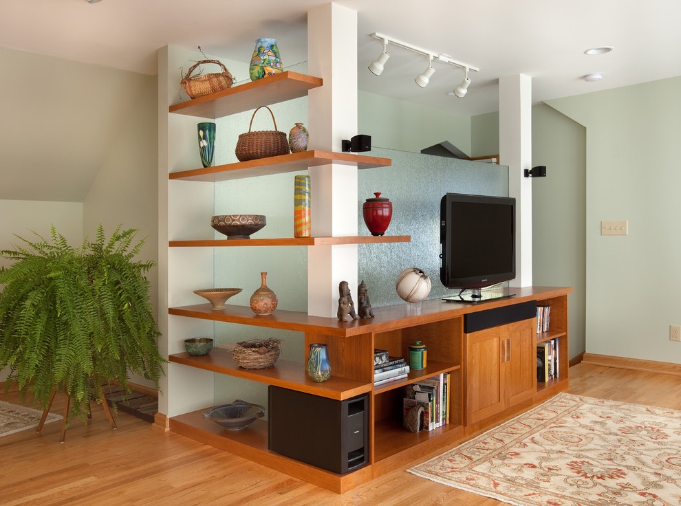 Contemporary Wooden TV Showcase And Shelves (Image 7 of 16)