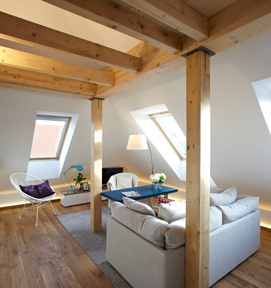 Contemporary Attic Living Room (View 10 of 26)