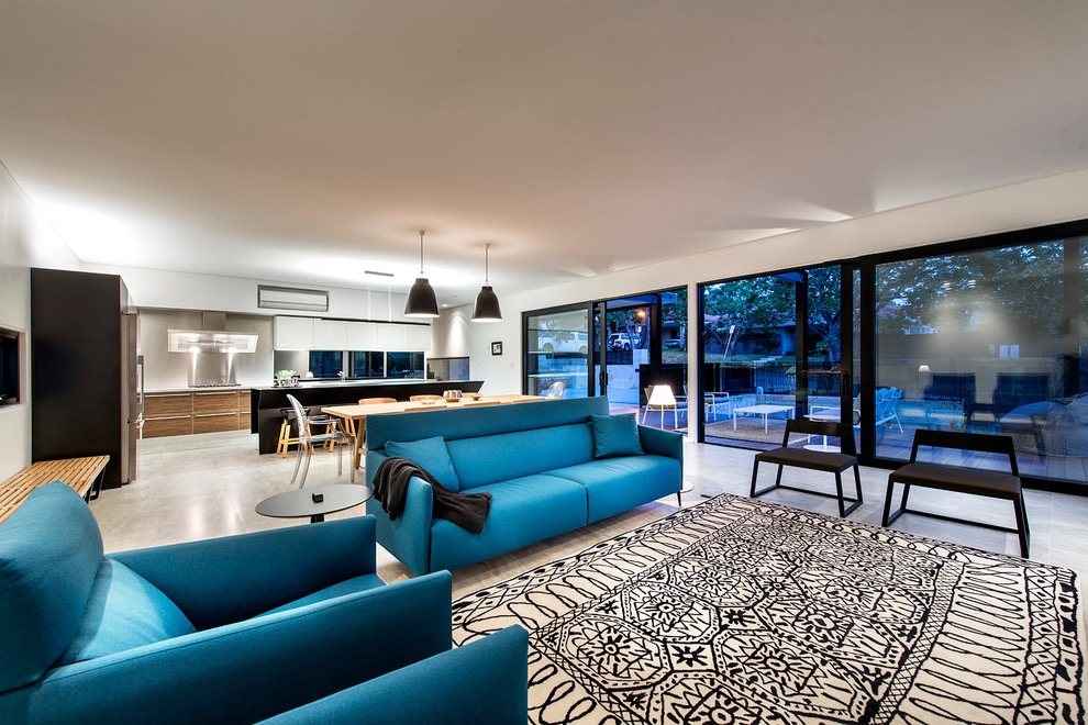 Contemporary Chic Blue Sofa For Open Living Room (View 1 of 25)