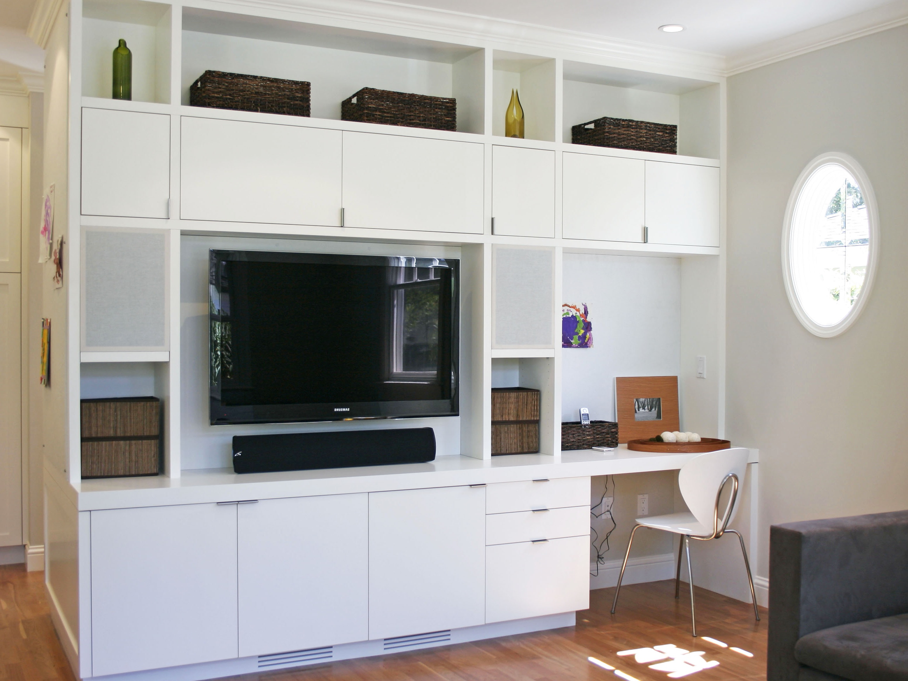 Contemporary Custom TV Showcase With Built In Desk And Cabinets (Image 4 of 16)