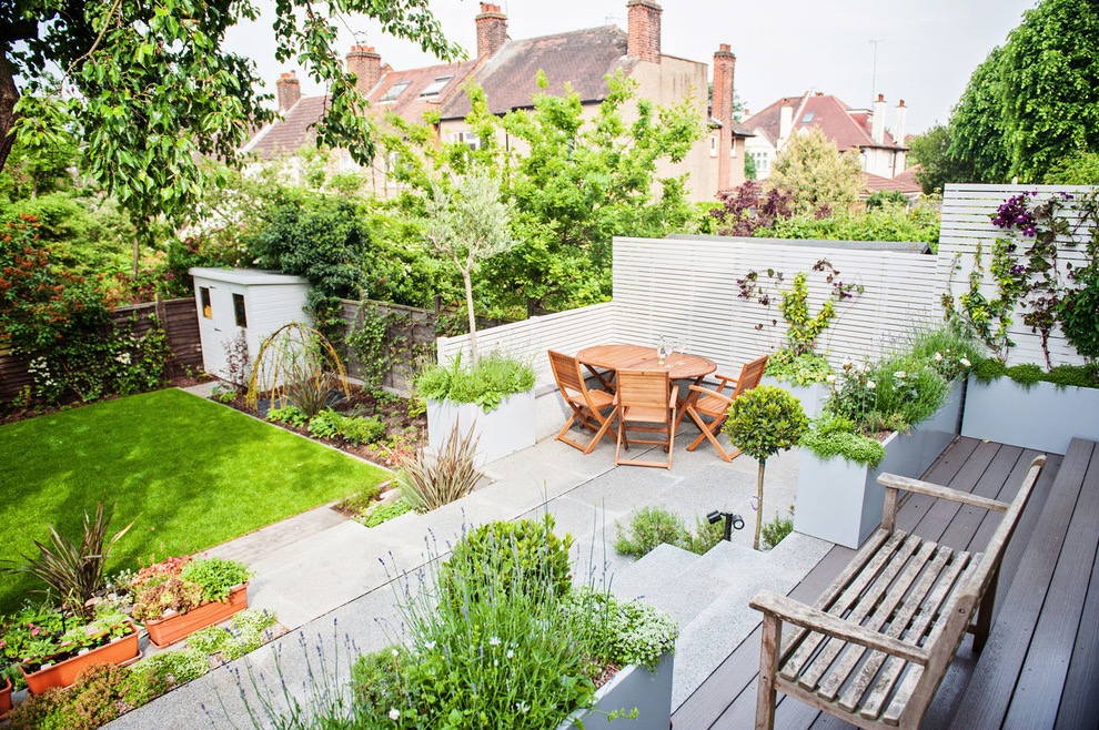 Contemporary Garden With Hard Scape For Chairs And Vegetable Garden (Image 13 of 35)
