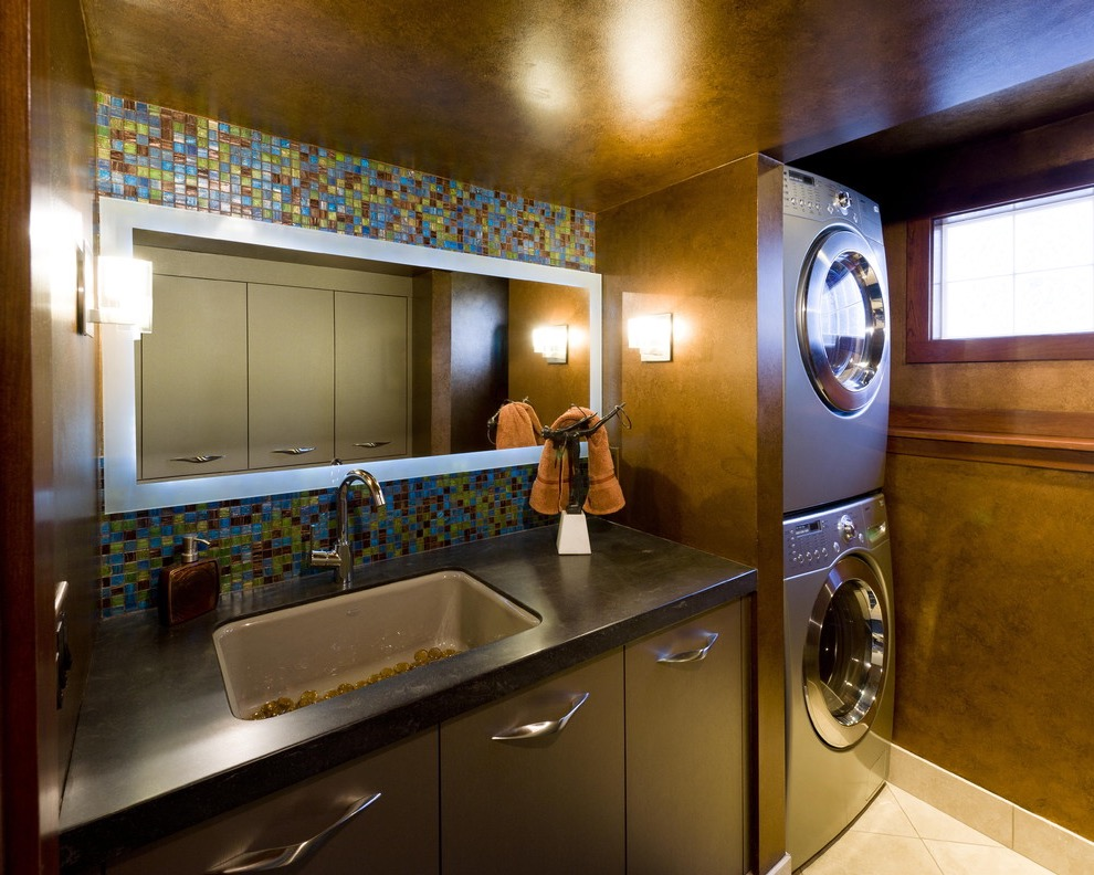 Contemporary Laundry Room And Bathroom Interior Remodel In One Room (Image 6 of 15)
