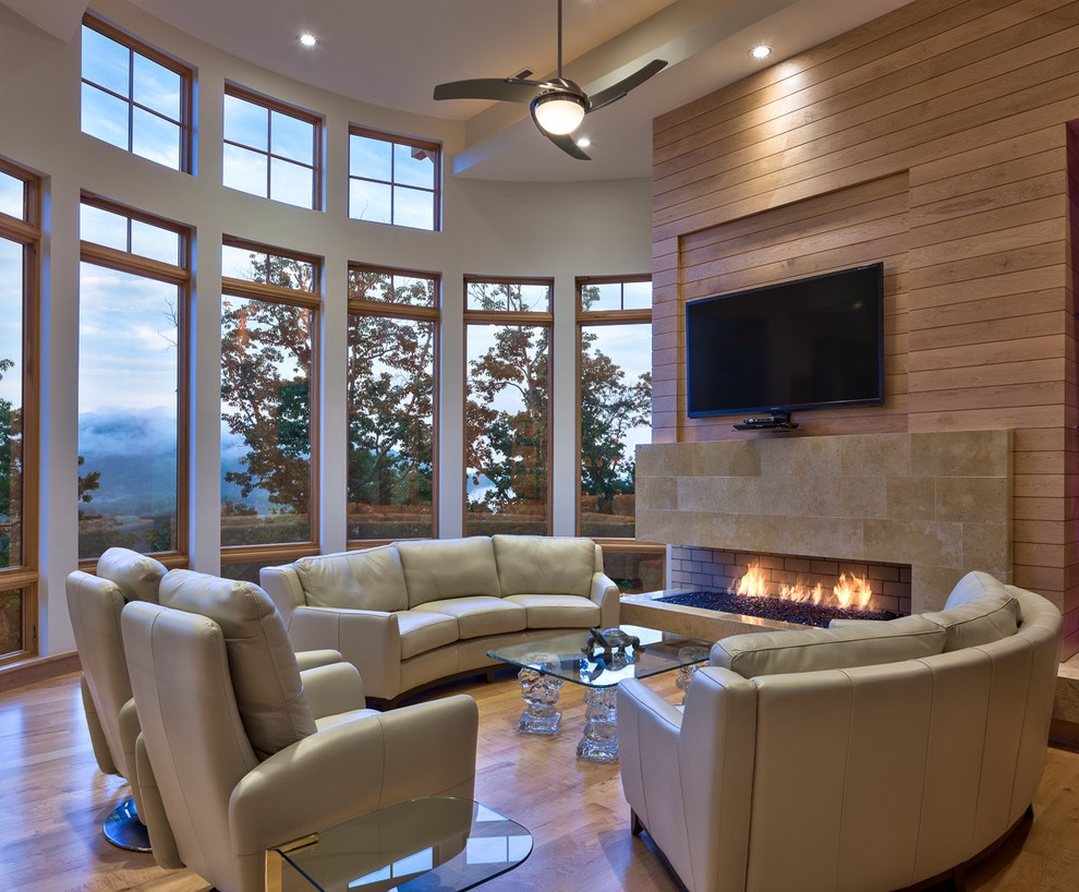 Contemporary Living Room With Wall Mounted TV Showcase (Image 9 of 16)