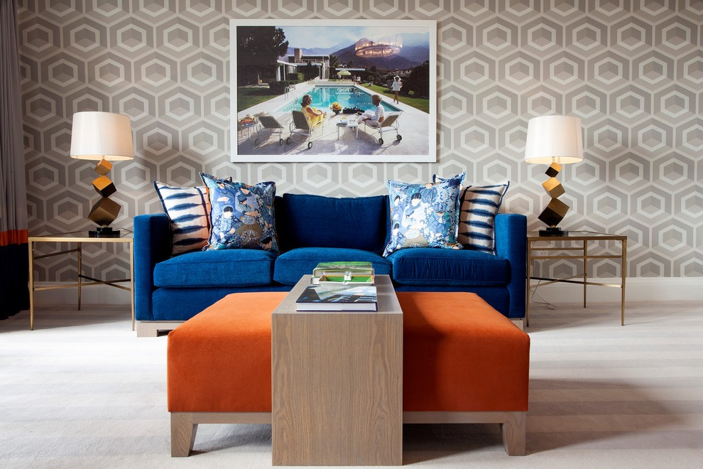 Contemporary Minimalist Blue Living Room Sofa (View 7 of 25)