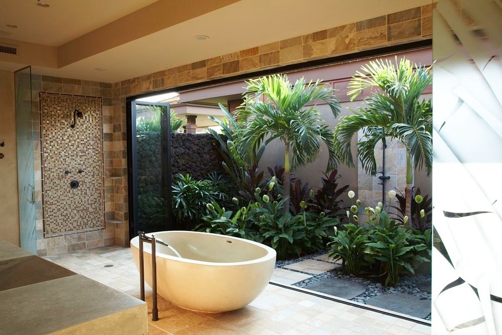 Contemporary Tropical Bath With Tropical Garden Attached (Image 2 of 26)