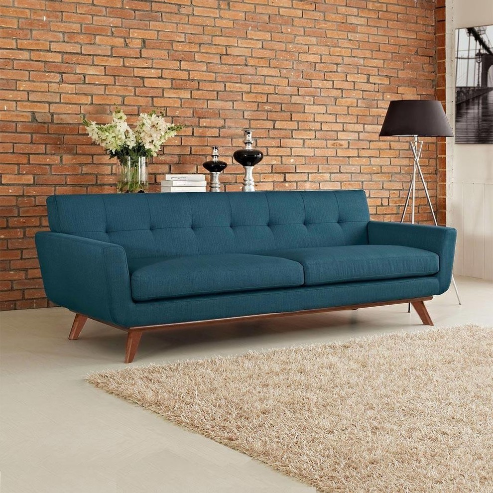 Cozy Modern Blue Sofa For Living Room With Brick Wall Decoration (Image 11 of 25)