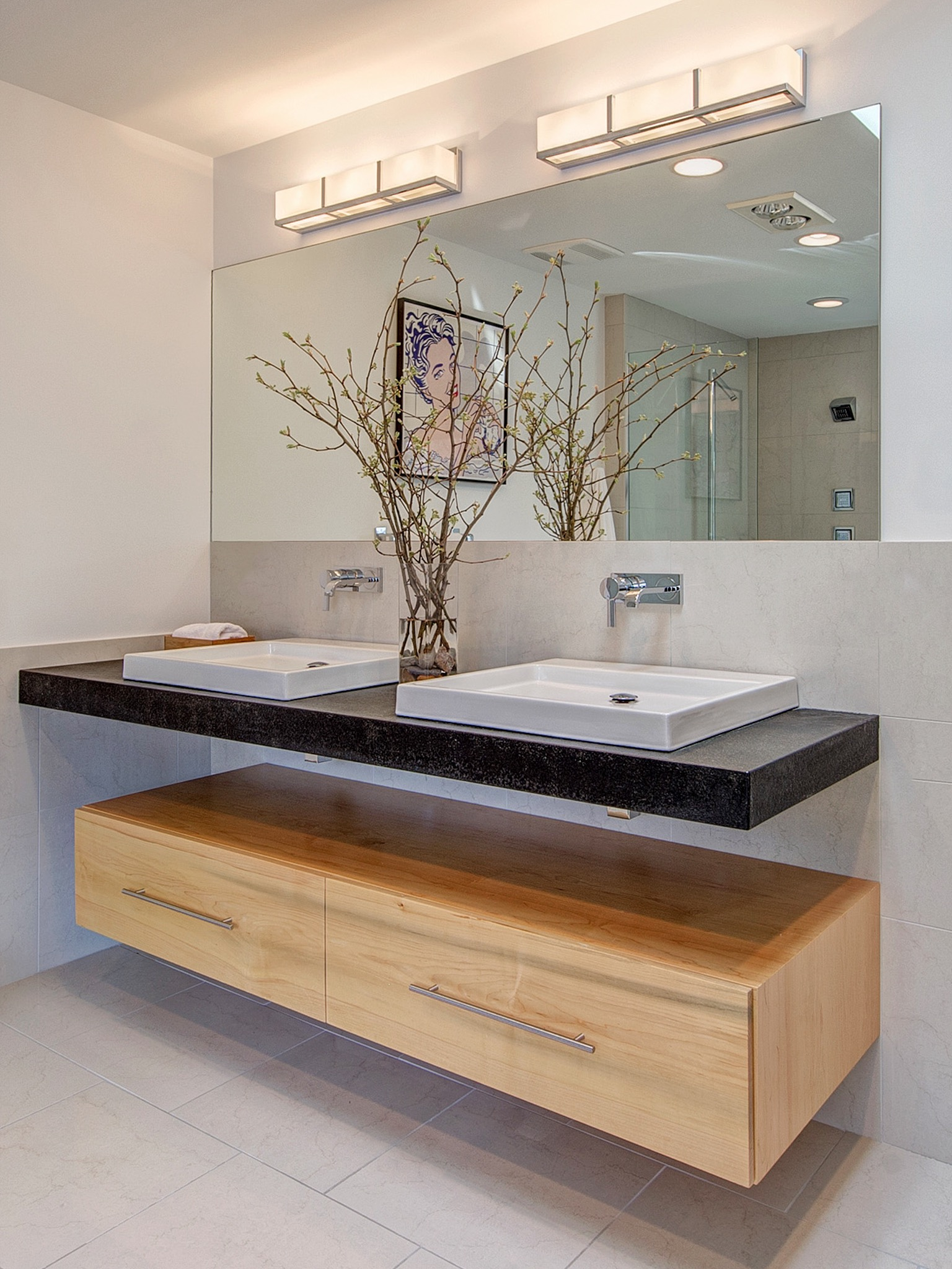 Cozy Stylish Floating Vanity And Cabinets Bathroom Furniture (Image 8 of 18)