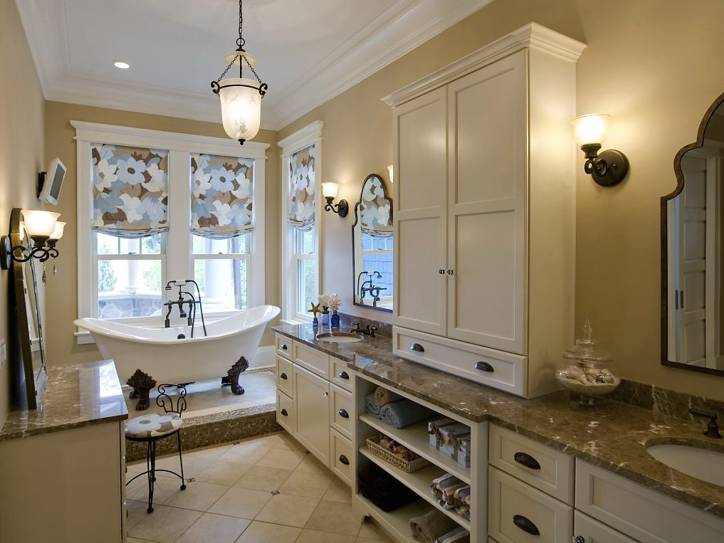 Elegance Classic Bathroom With Ustom Roman Shades And Beige Cabinetry (Image 18 of 29)