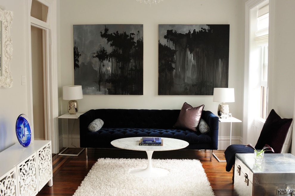 Fahionable Modern Dark Blue Sofa For Living Room Furniture (View 10 of 25)