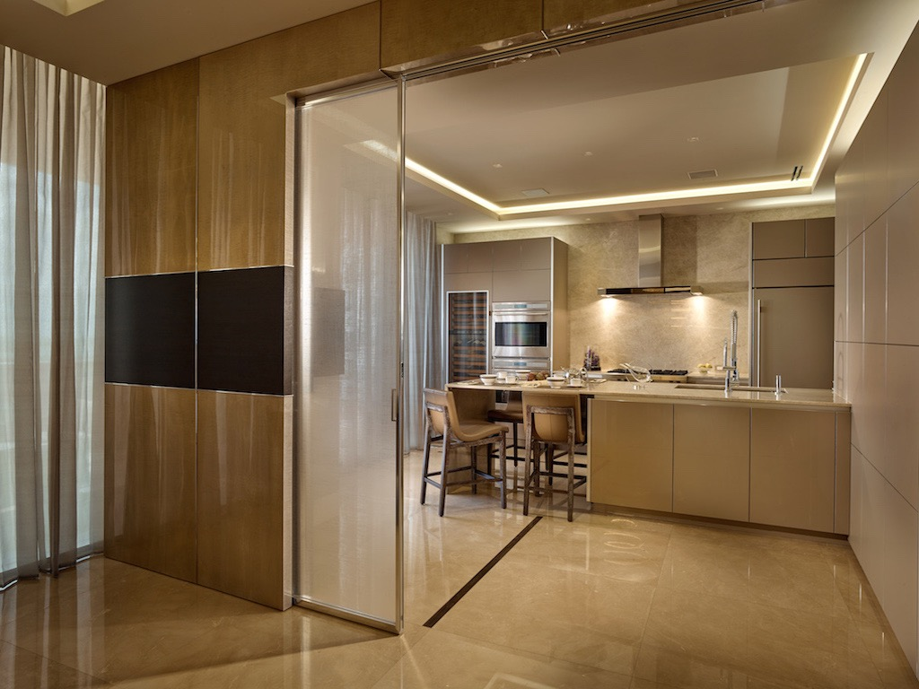Frosted Glass Sliding Door For Contemporary Kitchen In Luxury Design  (Image 4 of 13)