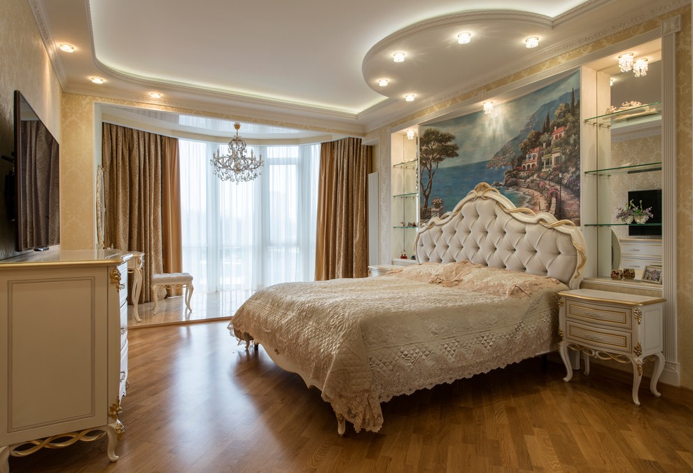 Glamour Victorian Bedroom With Beige Walls And Medium Tone Hardwood Floors (Image 6 of 28)