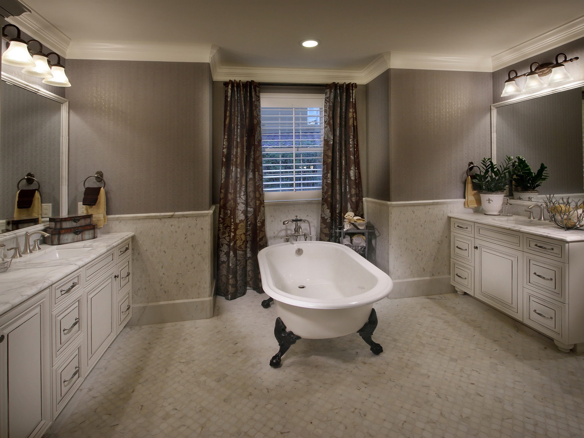 Marble Countertops For Classic Bathroom Interior With Full Length Curtains And Two Spacious Vanities (Image 24 of 29)
