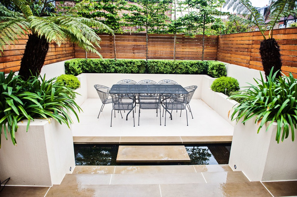 Mid Sized Trendy Backyard Patio Design With A Container Garden (Image 30 of 35)