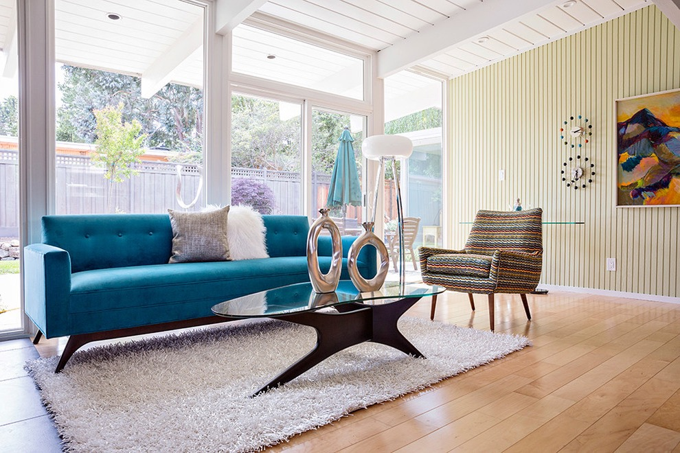 Midcentury Living Room Blue Sofa Furniture (Image 18 of 25)