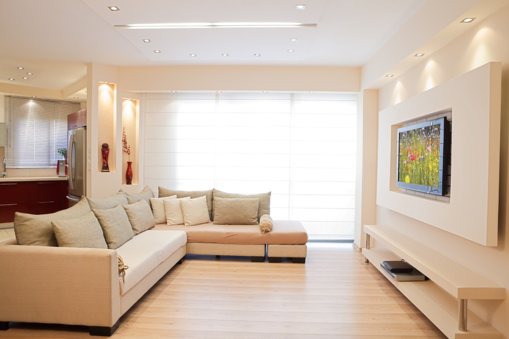 Minimalist Built In Wall Mounted TV Showcase For Contemporary Living Room (Image 10 of 16)