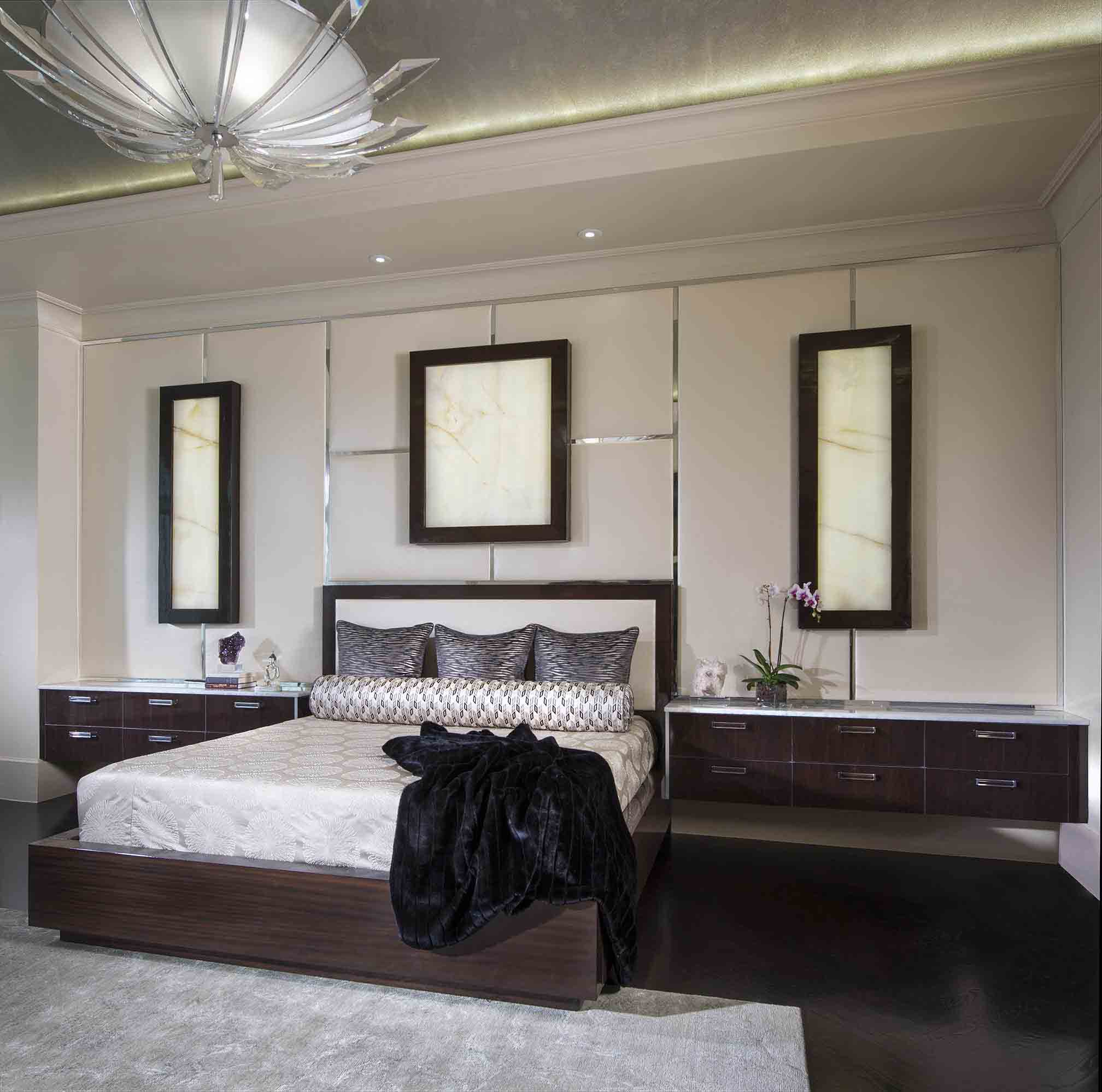 Modern Bedroom With Built In Floating Dressers (View 9 of 23)