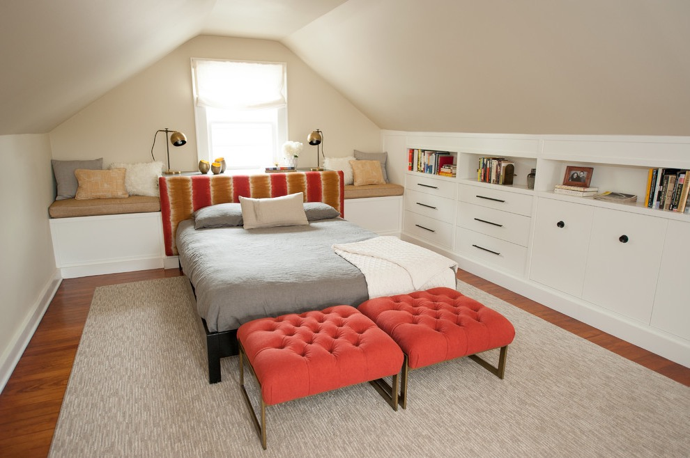 Modern Attic Bedroom With Cabinets And Shelves (Image 14 of 23)