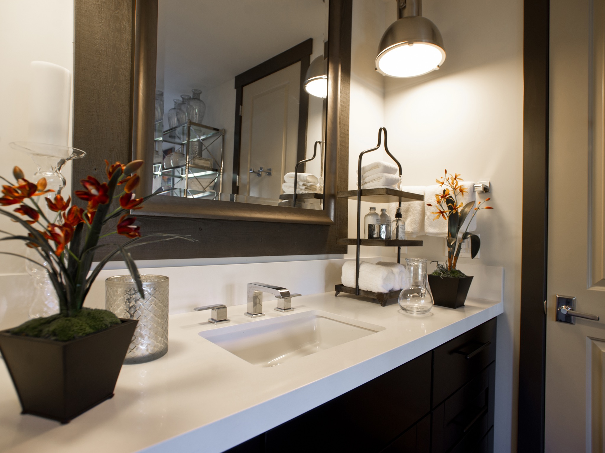 Modern Bathroom Accessories For Dark Vanity And Large Wood Framed Mirror (View 7 of 14)