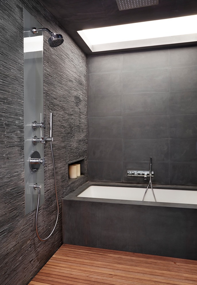 Modern Contemporary Shower Design In Dark Wall Color (Image 11 of 22)