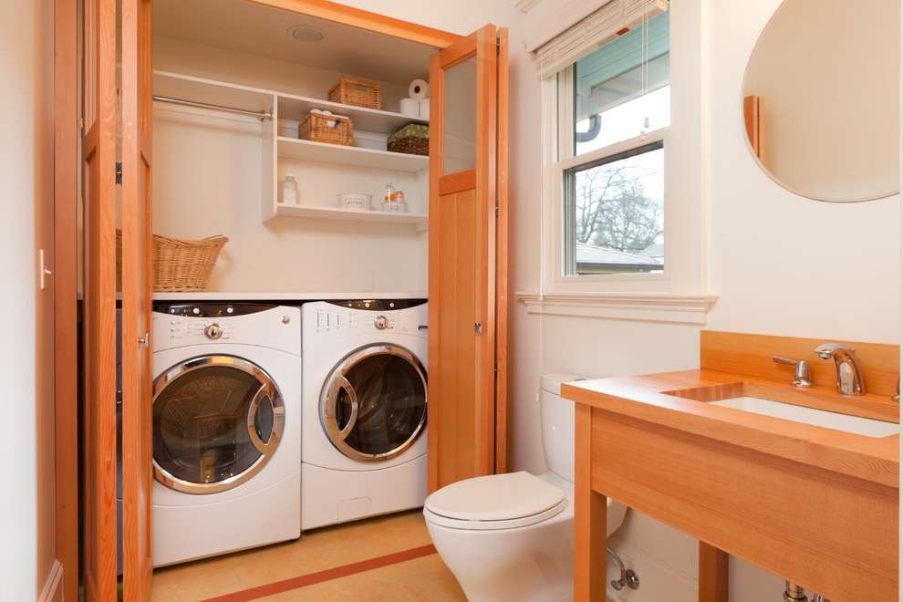 Modern Cozy Bathroom And Laundry With Wooden Cupboard (Image 10 of 15)