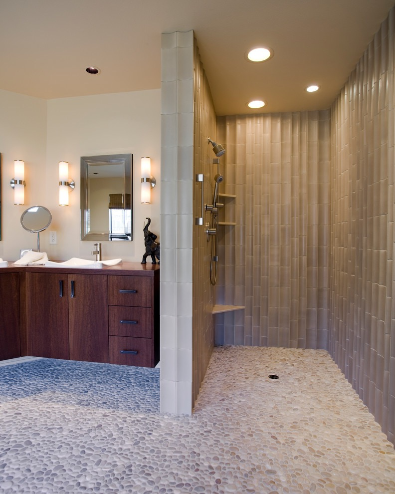 Modern Doorless Walk In Shower With LED Lighting (Image 17 of 29)