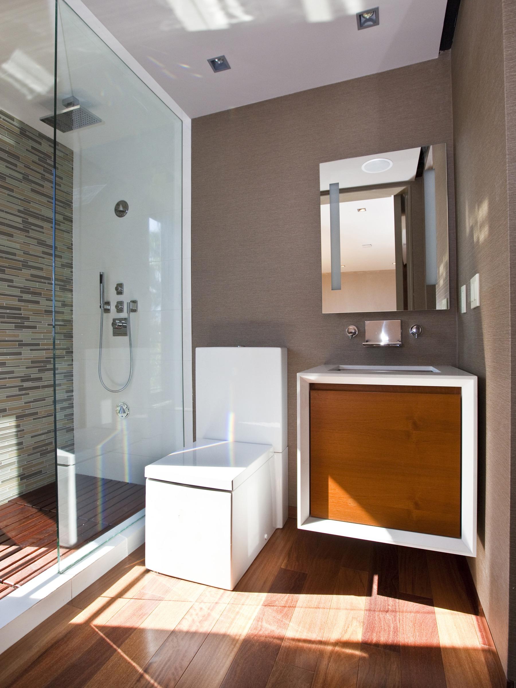 Modern Floating Vanity And Elegant Glass Shower Furniture (Image 15 of 18)