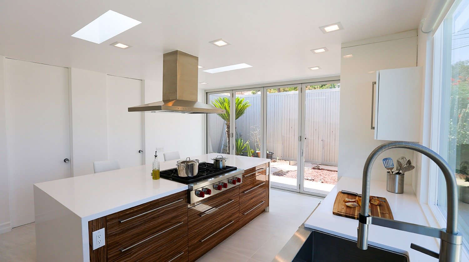 Modern Metal Bifold Doors For White Minimalist Contemporary Kitchen Interior (Image 18 of 24)