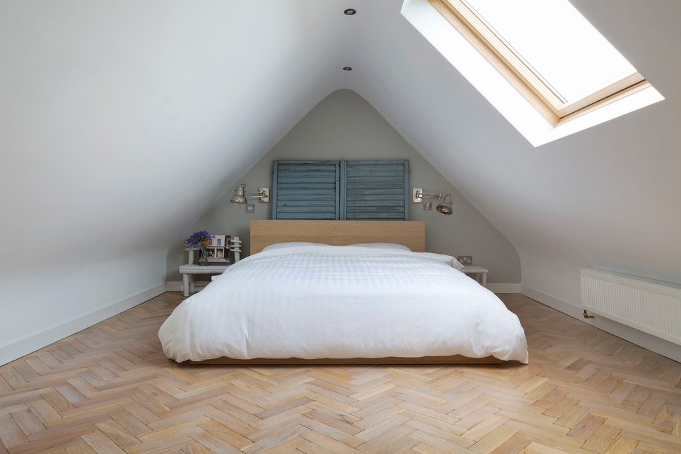 Modern Minimalist Attic Bedroom With Laminate Flooring (View 11 of 23)
