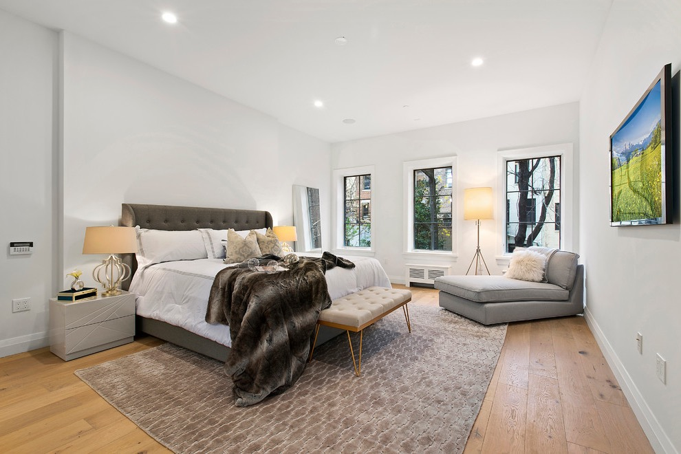 Modern Parents Bedroom Interior With Gray Walls And Light Hardwood Floors (Image 22 of 30)