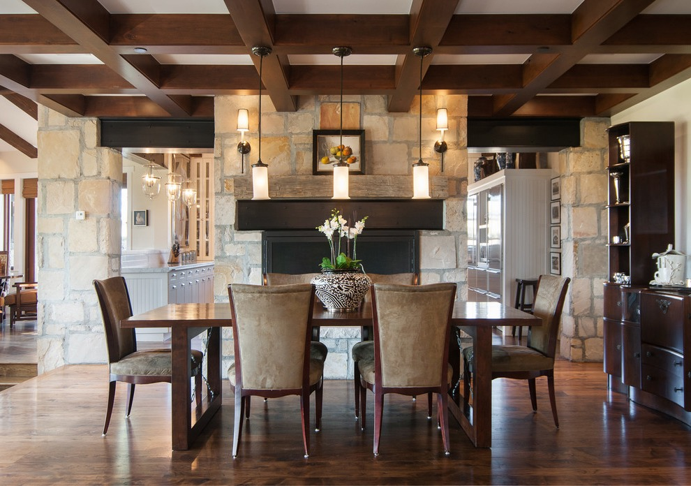 Rustic Dining Room With Stone Wall Decor (Image 26 of 36)