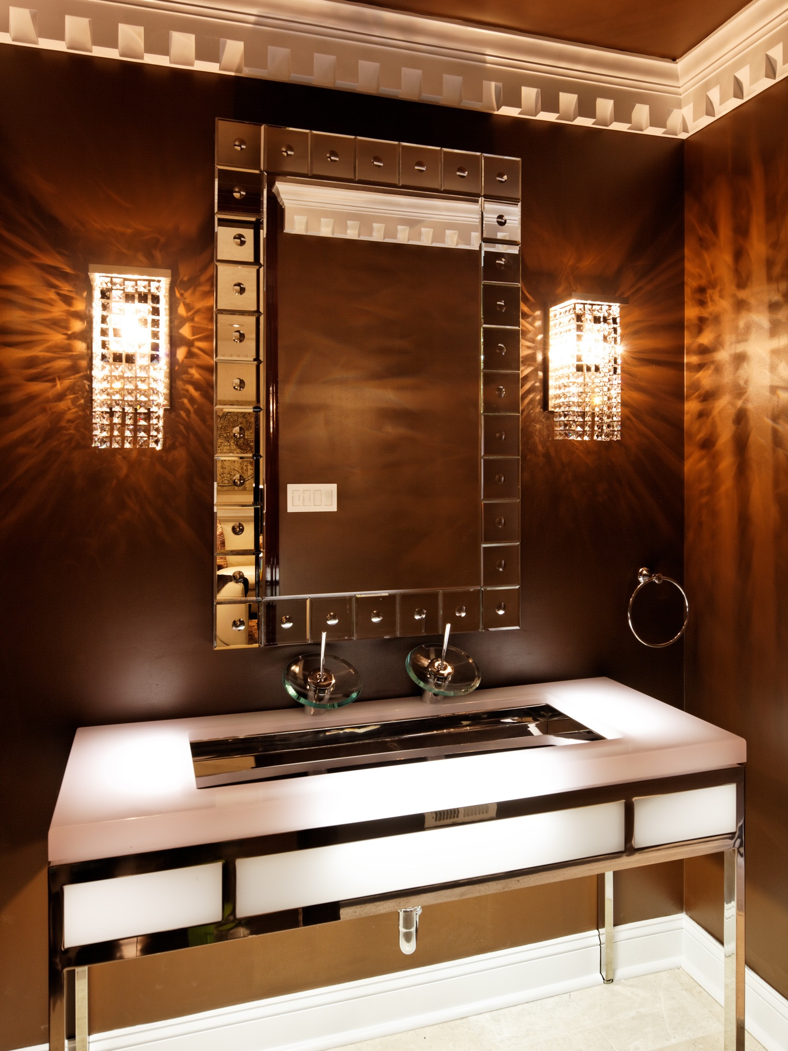 Square Beaded Sconces For Modern Glamour Bathroom (Image 17 of 19)