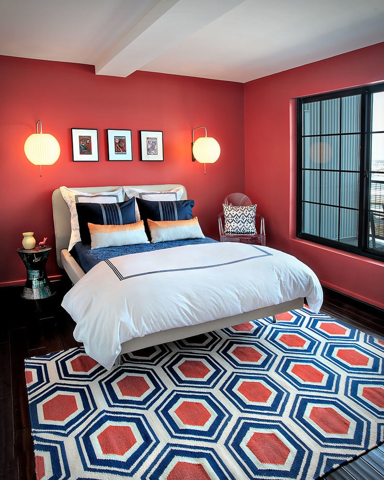 Stunning Modern Bedroom In Red Paint Color (Image 19 of 22)