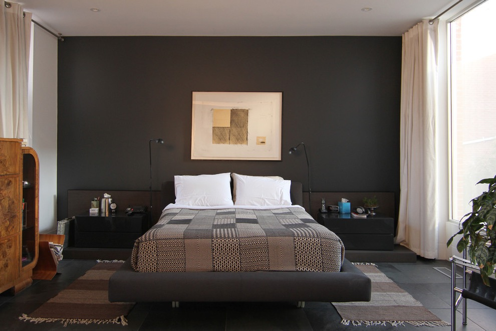 Stylish Modern Bedroom In Black Paint Color (View 5 of 22)