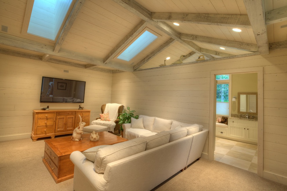 Traditional Wooden Attic Living Room With White Color Theme (View 23 of 26)