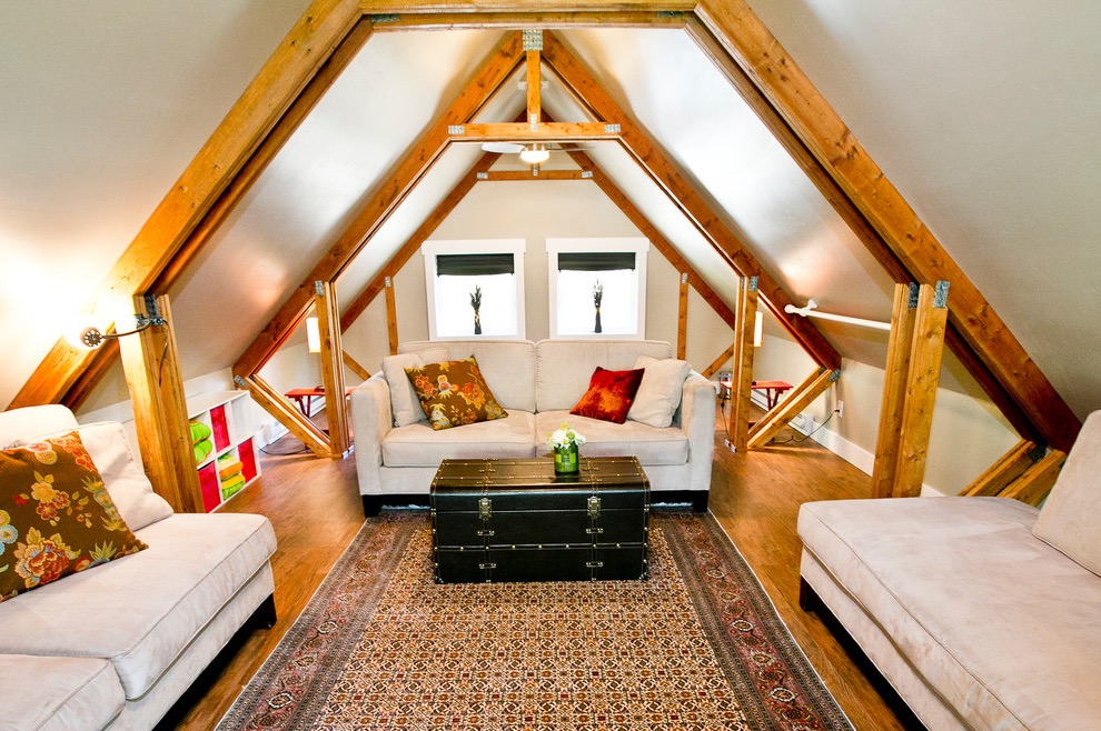Traditional Wooden Attic Remodel To Classic Attic Living Room (View 22 of 26)