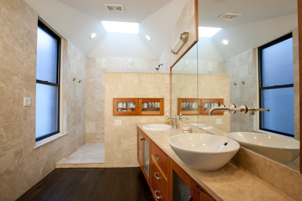 Transitional Doorless Walk In Shower Design With A Vessel Sink (Image 23 of 29)