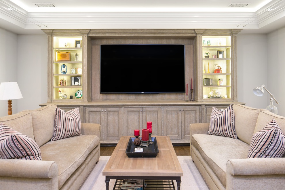 Transitional Living Room TV Showcase With Backlit (Image 14 of 16)