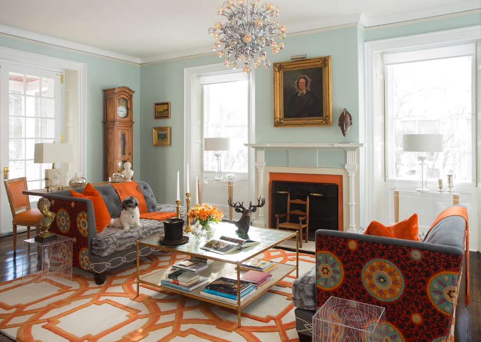 Victorian Formal Living Room Furniture With Blue Walls And A Standard Fireplace (Image 26 of 28)