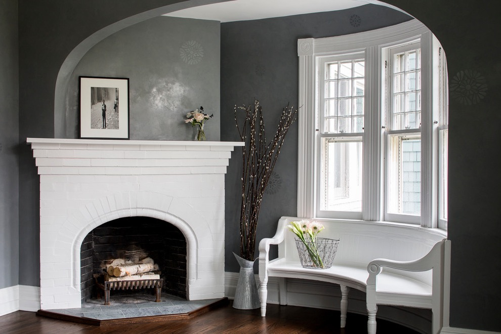 Victorian Living Room With Brick Fireplace Surround And A Corner Fireplace (Image 28 of 28)