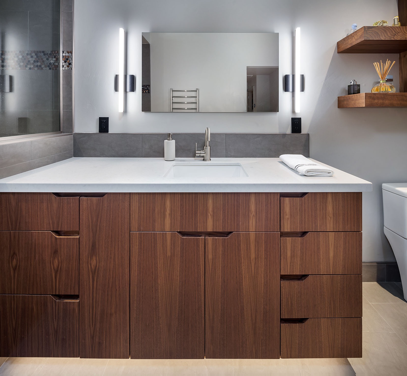 Warm Wood Vanity Furniture In Gray Modern Bathroom (Image 17 of 18)