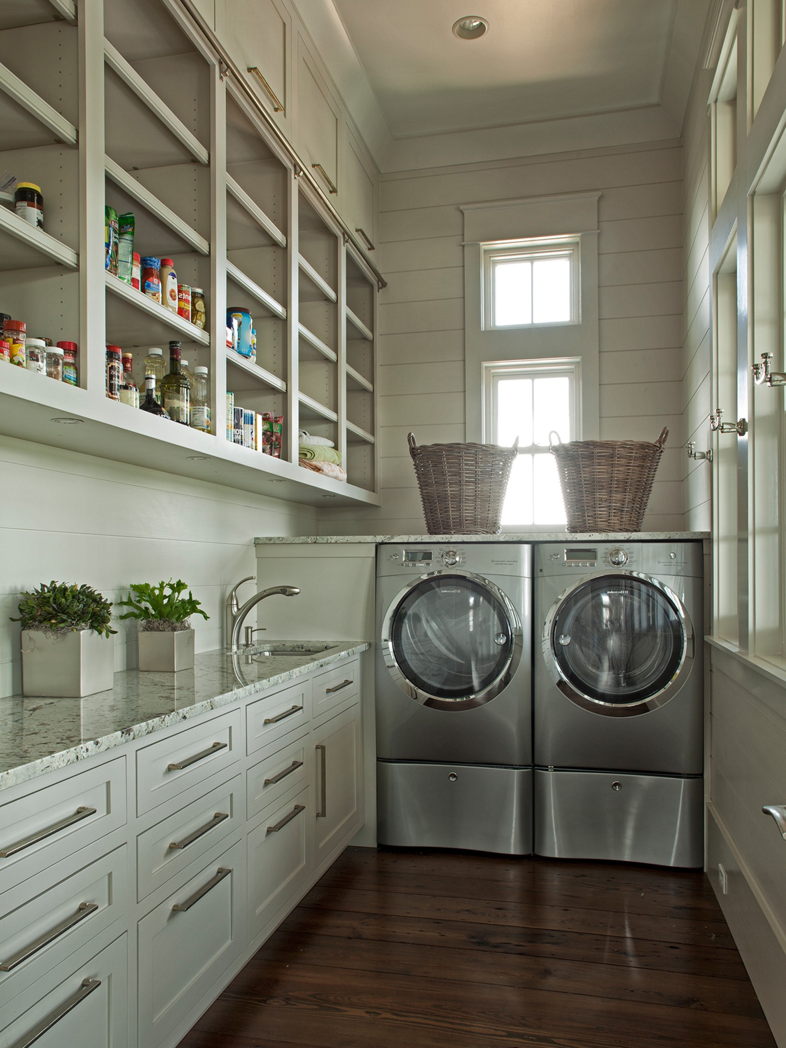 Wood Cabinet Storage And Utility For Traditional Laundry Room (Image 25 of 26)