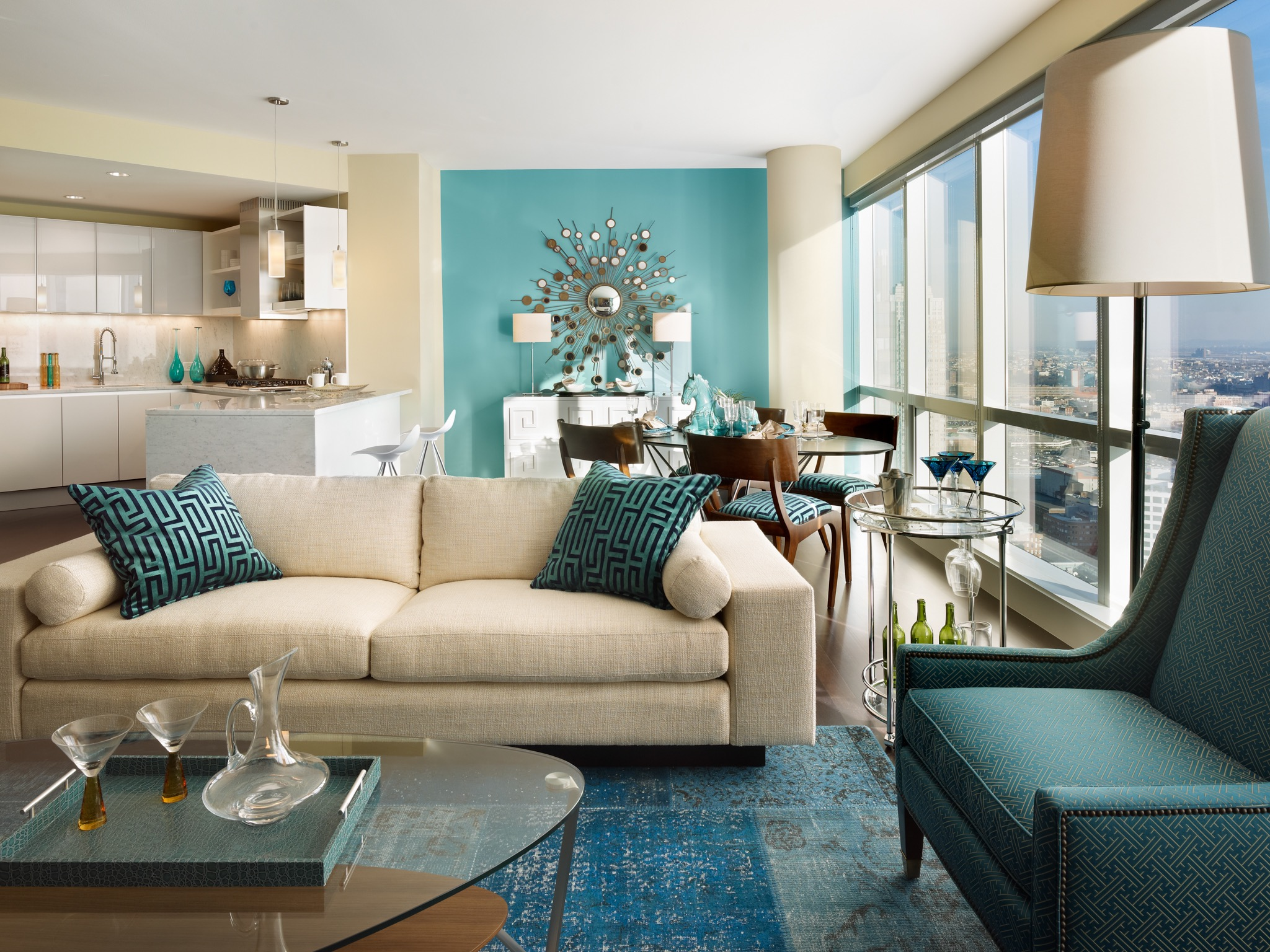 Aqua Blue Color Theme For Fresh Modern Apartment Living Room (Image 1 of 20)