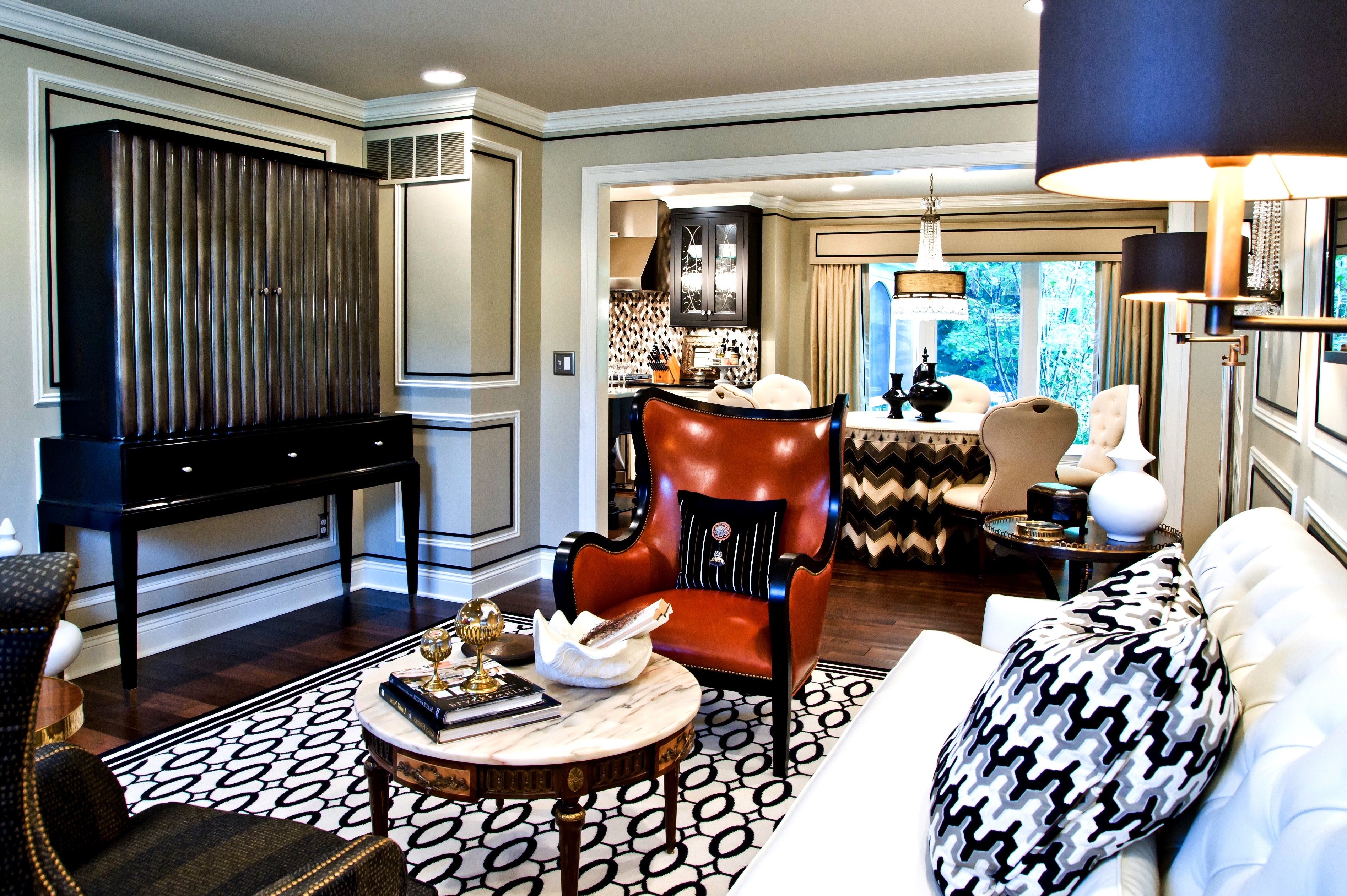 Art Deco Inspired Living Room With Elegant Bold Chair (View 12 of 20)