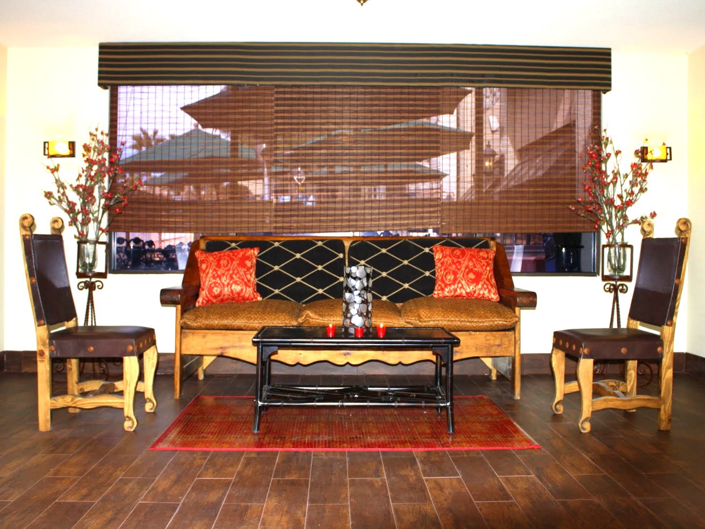 Asian Brown Living Room Oriental Design With Wood Sofa And Window Blind  (Image 1 Of