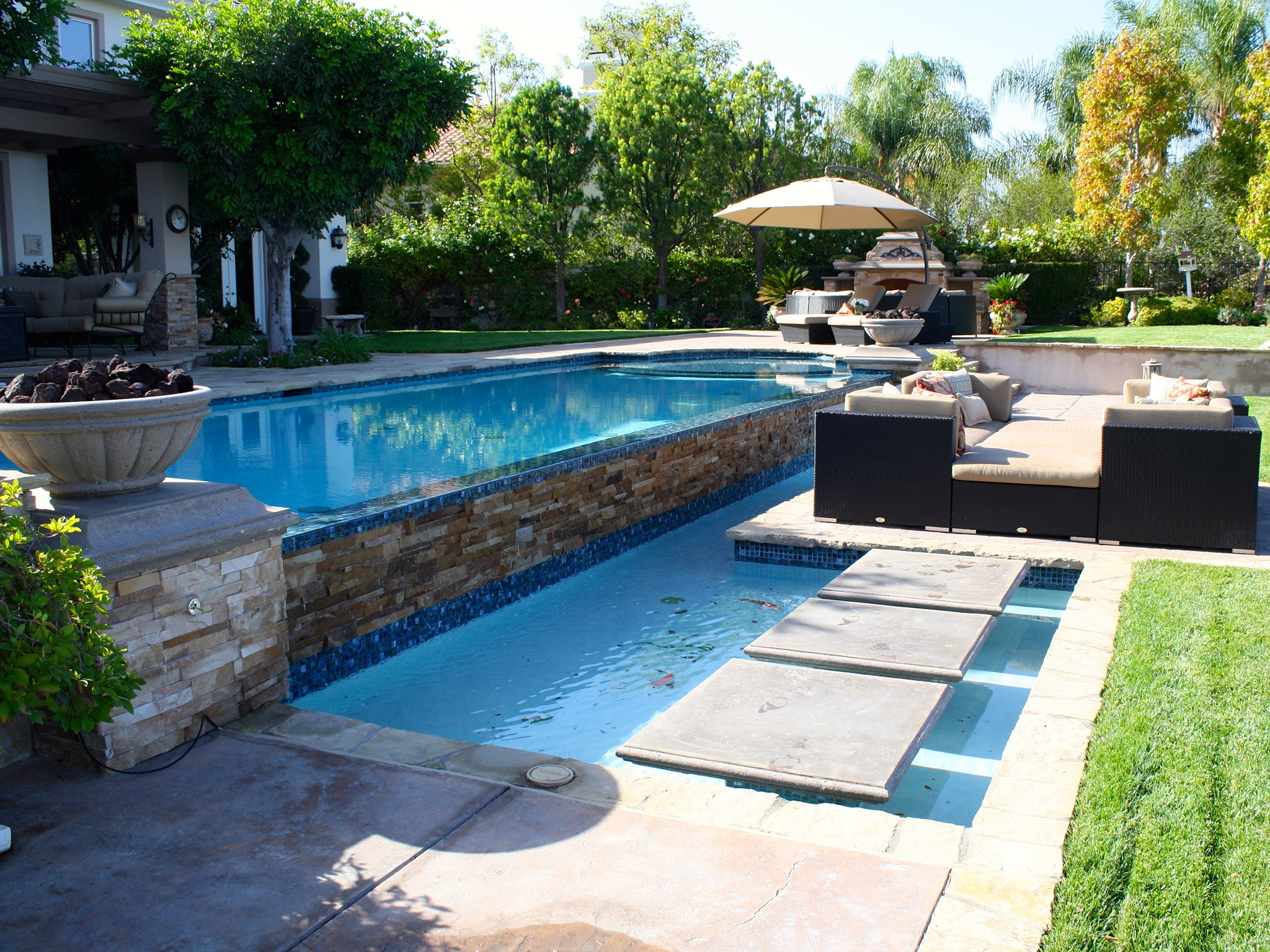 Backyard Infinity Pools. Backyard Infinity Pool With Stacked Stone Wall  Pools G
