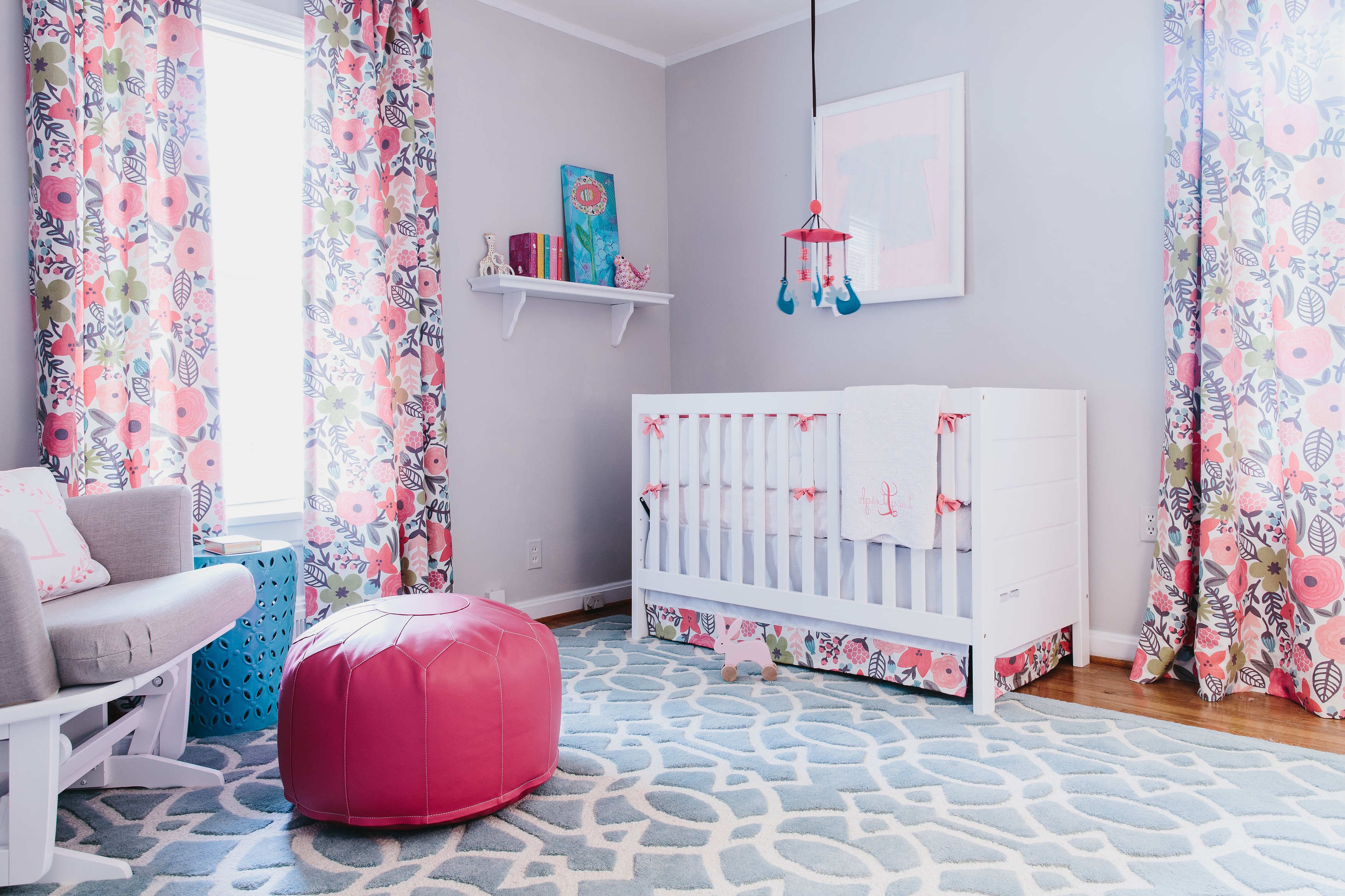 Beautiful Baby Room With Multicolored Floral Curtains (Image 2 of 33)