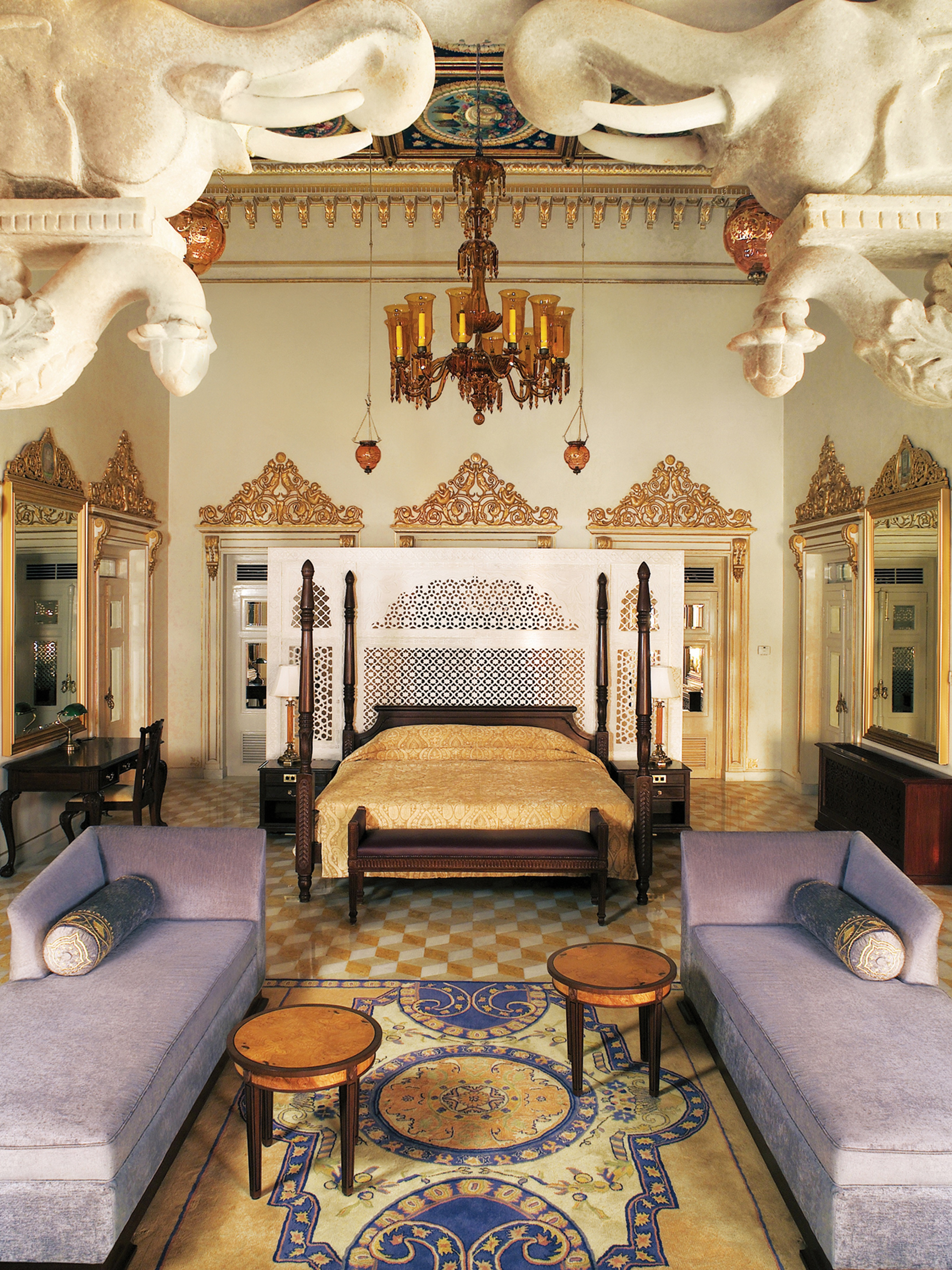 Classy Elaborate Indian Bedroom With Lavender Sofas (View 19 of 30)